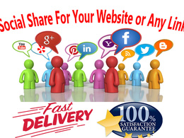 Provide 1000 Social Share For Your Website or Any Link