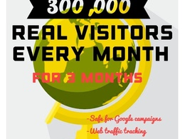 300,000 monthly Real safe website visitors for 3 months (900000