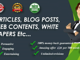Write original and authentic 500 words SEO articles, blog posts, web contents, etc.,