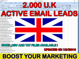 Provide you a list of 2000 geniune active U.K email leads database