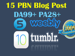 10 Tumblr and 5 weebly PBN blog posts DA99+ and PA28+