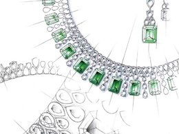 Draw a detailed jewellery sketch
