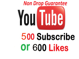 Add 500 Non Drop, Genuine Youtube subscribers or 500 Likes (Uk, USA or Any country)