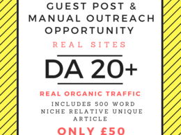 Outreach & Business Niche Guest Posts HIGH DA 20+ with Article 500 Words