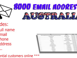 Deliver 8000 email addresses from Australia