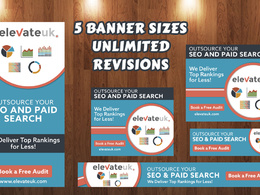Design (5 sizes) Google AdWord Banners ad set With Unlimited Revisions