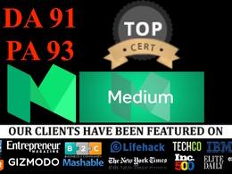 24 hours OFFER - publish a guest post on medium.com  MEDIUM com DA 91 PA 93, OFFER!!