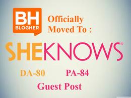 Write + publish guest post on sheknows.com - DA81 PA 70