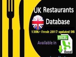 Provide UK restaurant database 130K plus in excel format (40,000+ Emails)
