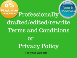 Write Terms and Conditions (TERMS OF USE) or Privacy Policy for you