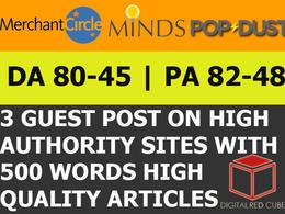 Write publish 3X guest post on Merchantcircle Minds Popdust DA80+