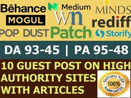 Write Publish 10 X High Authority Guest Post [DA 93-45] Not PBN