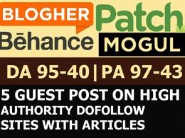 5 x High Authority DoFollow Blog Guest Post [DA 50-96|