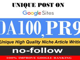 Write And Publish Your High DA 100 Google Sites Unique Guest Post