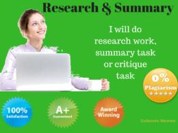 Do research work/summary work/critique work {1000 words each}