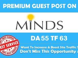 Write & Publish a guest post on Minds.com (DA 55, PA 63, PR 5) with 2 Do follow Links