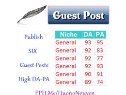 Publish 6 Guest Posts on GENERAL Niche DA>80 - Content Marketing SEO