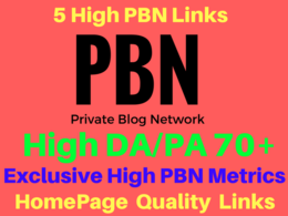 Do Permanent 5 Manual HIGH DA PA 70+ Homepage PBN Links