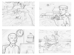 Create a 4 panel storyboard page for adverts, film & video promo