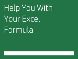 Help you with your Excel formula