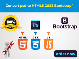 Convert your PSD/PNG to HTML5+CSS3(Responsive) using BootStrap 4
