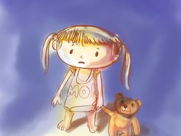 One water colour style children book illustration