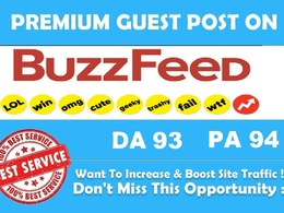 Write and publish an article on buzzfeed DA,93, PA 94