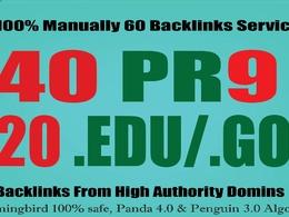 I will manually do 40 PR9 + 20 EDU/GOV Safe SEO High Pr Backlinks 2017 Best Results f