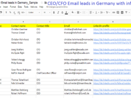 Provide 1000 CEO/CFO email leads at same companies