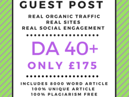 Guest Posts HIGH DA 40+ only £175 includes 800 word article