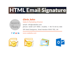 Create you HTML email signature with Social links and Graphics
