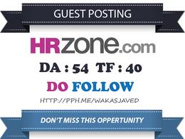 Publish a Do follow Guest Post on HRZone.com (PA 62, DA 54)