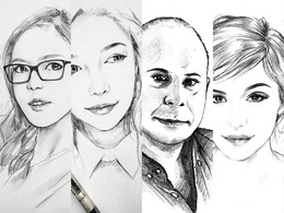 Draw a stylish pencil portrait from your images
