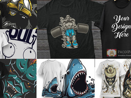 Design a high quality CUSTOM T-Shirt + FREE bundle of designs