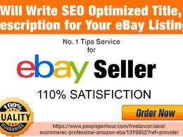 Write SEO Optimised Titel, Description for Your eBay Listing