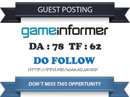 Dofollow Guest Post on DA 83 GameInformer.com - Gaming Link