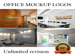 Design 12 logo mockup on your office walls realistically in 2hrs