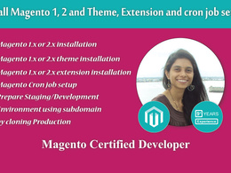 Install Magento with Theme, Extension and cron job