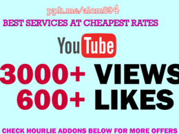 Added 3000+ YouTube views and 600 Likes for YouTube SEO Ranking