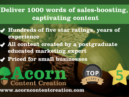 Deliver 1000 words of sales-boosting, captivating content