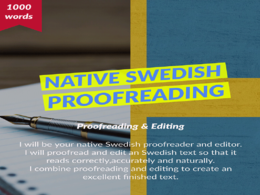 Proofread 1,000 words for perfect Swedish