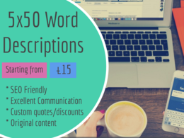 Write 5 x 50 word SEO friendly product descriptions
