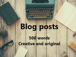 Write a creative and original 500 word blog post