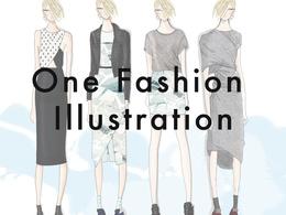Hand draw one fashion illustration