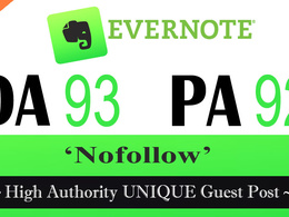 "Write and publish UNIQUE Guest Post on ""EVERNOTE"" DA-93"