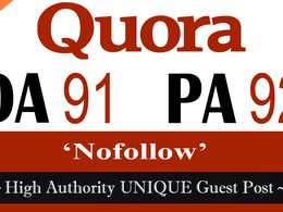 "Write and publish UNIQUE Guest Post on ""QUORA"" DA-91"