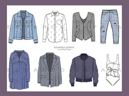 Create 2 fashion technical drawings