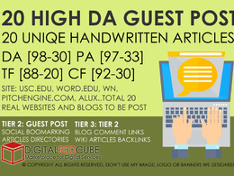 20 High Authority Guest Post DA[99-30] - SEO Backlinks Package