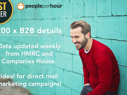 Provide targeted 200 X B2B data for UK companies -GDPR compliant
