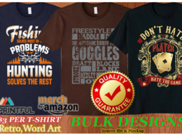 Bulk Custom T Shirt 5 Designs For Merch By Amazon